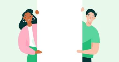 jovens segurando um quadro branco de publicidade. ilustração de banner de maquete para o site. vetor