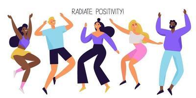 grupo de pessoas felizes pulando e dançando. personagens diversos alegres e positivos. ilustração vetorial colorida. vetor