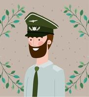 militar com moldura de coroa de folhas