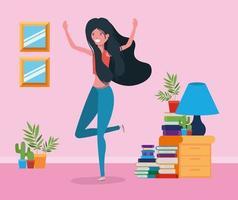 mulher feliz no design da sala de estudo