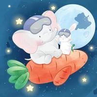 elefante fofo com ilustração de coelho