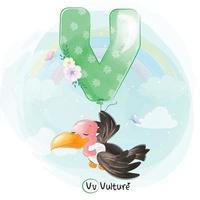 abutre fofo com ilustração de alfabeto v balão vetor