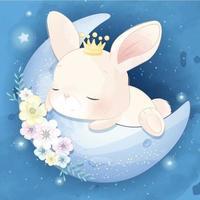 ilustração de coelhinho fofo dormindo na lua vetor