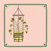 quadro com planta de casa em um cabide de macramê vetor