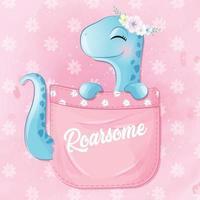 Ilustração de dinossauro fofo sentado dentro do bolso vetor