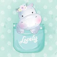 hipopótamo fofo sentado dentro da ilustração do bolso vetor