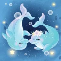 ilustração de casal de golfinhos fofos vetor
