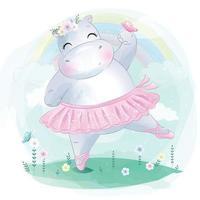 hipopótamo fofo como ilustração de bailarina vetor