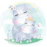 ilustração de mãe e bebê hipopótamo fofo vetor