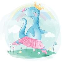 dinossauro fofo como ilustração de bailarina vetor