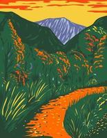 trilha do desfiladeiro mckittrick no parque nacional das montanhas de guadalupe, no novo méxico, durante o outono, pôster wpa vetor