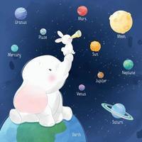 coelhinho fofo e elefante olhando a ilustração do espaço vetor