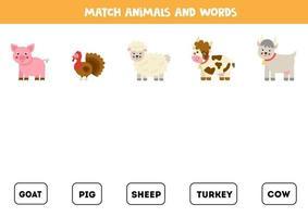 combinando animais de fazenda e as palavras. jogo educativo para crianças. vetor