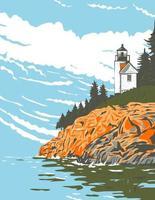 Mount Desert Island em hancock County, na costa de Maine, parte do Acadia National Park, arte em pôster wpa