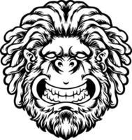 silhueta dreadlock sorridente gorila desenhada à mão vetor