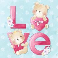 urso fofo com ilustração de amor do alfabeto vetor