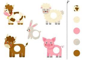 cortar e colar peças de animais de fazenda de desenhos animados. vetor