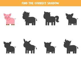 Encontre a sombra correta do porco bonito. quebra-cabeça lógico para crianças. vetor