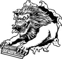 o rodo do leão selvagem para a silhueta do mascote de serigrafia vetor