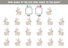 esquerda ou direita com coelho bonito. planilha lógica para pré-escolares. vetor