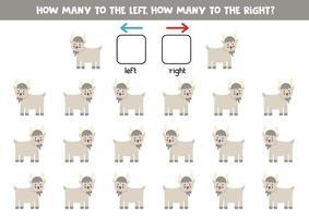 esquerda ou direita com cabra bonita. planilha lógica para pré-escolares. vetor