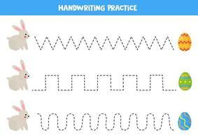 trace as linhas com coelho fofo e ovos de páscoa. vetor