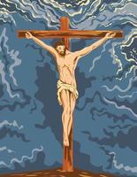 o Jesus Cristo crucificado na cruz durante a crucificação, arte do pôster wpa vetor