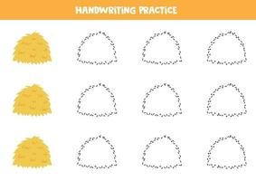 trace as linhas com palheiro. prática da escrita. vetor