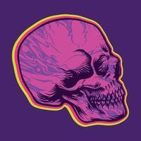 ilustrações psicodélicas hippie do lado do crânio vetor
