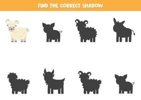 Encontre a sombra correta das ovelhas da fazenda. quebra-cabeça lógico para crianças. vetor