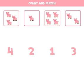 contando o jogo com porcos de desenho animado. planilha de matemática. vetor