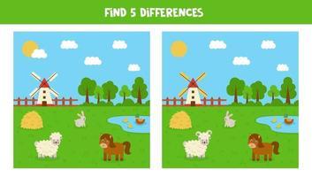 encontre 5 diferenças entre as imagens da fazenda. jogo para crianças. vetor
