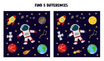 encontre 5 diferenças entre as imagens. planilha com tema espacial para crianças. vetor