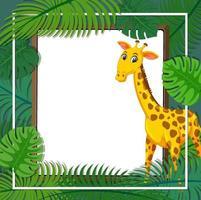 modelo de banner de folhas tropicais com um personagem de desenho animado de girafa vetor