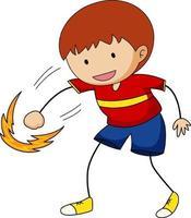um menino feliz doodle personagem de desenho animado vetor