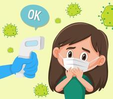 temperatura corporal verificando com uma garota usando máscara vetor