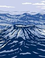 monumento nacional aniakchak e reserva mostrando o vulcão aniakchak na cordilheira aleutiana do Alasca, arte de pôster wpa