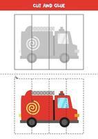Corte e cole o jogo para crianças. caminhão de bombeiros dos desenhos animados. vetor