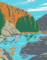 monumento nacional agua fria centrado no desfiladeiro do rio agua fria no arizona, arte de pôster wpa