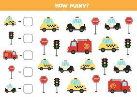 jogo de matemática. conte todos os veículos. jogos temáticos de transporte. vetor