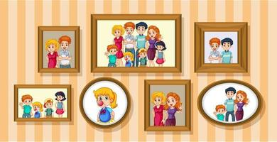conjunto de foto de família feliz na moldura de madeira vetor