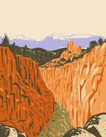 monumento nacional do browns canyon com desfiladeiros e florestas no vale do rio arkansas e a cordilheira de Sawatch em chaffee county colorado wpa poster art