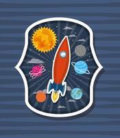 foguete sobre etiqueta com ilustração vetorial de design de planetas vetor
