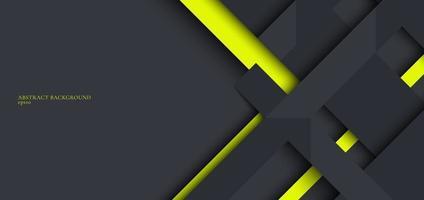 banner web design template listras geométricas cinza e verdes sobrepostas com sombra em fundo escuro vetor