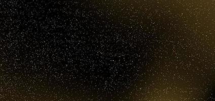 glitter dourados sobre fundo preto. muitas partículas de pontos dourados na escuridão. vetor