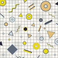 retângulo criativo borda do quadro amarelo, cinza e preto círculo geométrico, triângulo, linha na grade de fundo estilo memphis