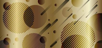 ouro abstrato e círculos dinâmicos geométricos pretos de fundo dourado da forma do gradiente. vetor