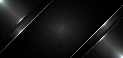 Modelo de design de banner abstrato preto brilhante com linha dourada e efeito de iluminação em fundo escuro e textura vetor