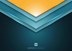 As formas abstratas de triângulo de seta de ângulo azul 3d sobrepostas em camadas em fundo escuro vetor