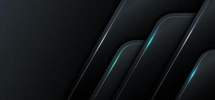 banner web template 3d geométrico preto metálico com conceito de tecnologia de luz azul. vetor